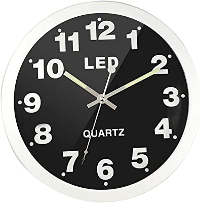 WEIWEI Creative Led Color Light Wall Clock, Round Digital Metal Clock Home Living Room Decoration