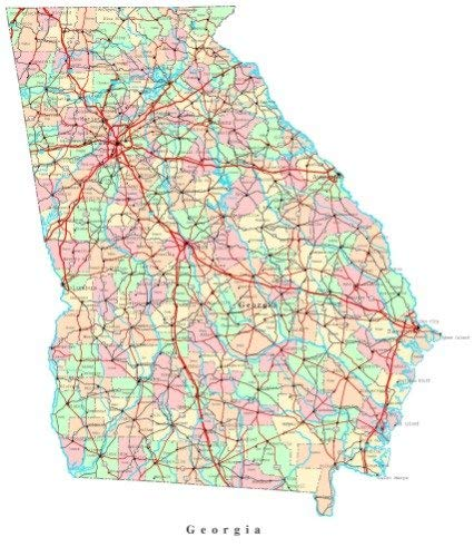 Georgia State Map City Road Atlanta Vivid Imagery Laminated Poster Print-20 Inch by 30 Inch Laminated Poster With Bright Colors And Vivid Imagery