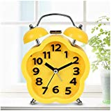 Creative Mute Alarm Clock Luminous Electronic Clock Bedside Cartoon Small Alarm Clock Lazy Mechanical Section Clock and Watches 6 Colors 9cm12cm (Color : Yellow)