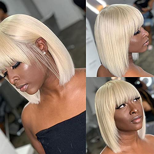 Vogeen 613 Short Bob Wigs for Black Women Glueless 150% Density Brazilian Virgin None Lace Front Blonde Wig with Bangs Machine Made Straight Human Hair Wigs 10 inch