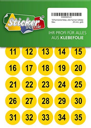 100 nummerierte Klebepunkte, 25 mm, gelb, aus PVC Folie, wetterfest, Markierungspunkte Kreise Punkte Zahlen Nummern Aufkleber