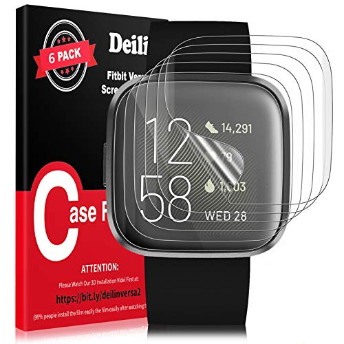 Deilin 6 Packs Screen Protector for Fitbit Versa 2/ Versa 3/ Fitbit Sense, Max Coverage, HD Clear, Bubbles Free, Flexible TPU Film for Fitbit Versa 2, Easy to Install with 3D Installation Video