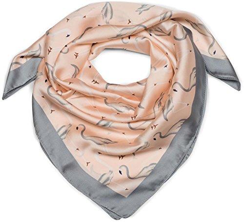 styleBREAKER seidiges Vierecktuch mit Flamingo Print und farblich abgesetztem Rand, Tuch, Halstuch, Kopftuch, Damen 01016164, Farbe:Rose-Grau