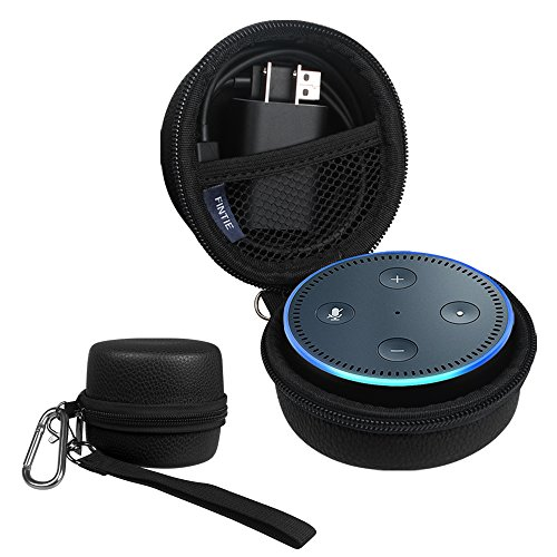 Fintie Protective Carrying Case for Amazon Echo Dot 2nd Generation - Shock Proof EVA Cover Zipper Portable Travel Bag Box (Fits USB Cable and Wall Charger), Black