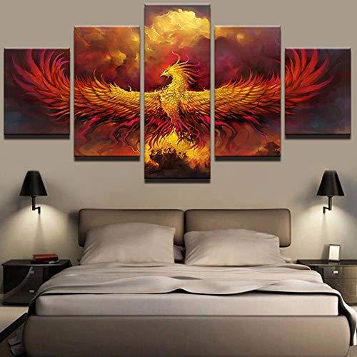 GJXYED Schilderij op canvas, zonder lijst, handgemaakt, doe-het-zelf, abstracte canvas, schilderkunst, modulaire muurkunst, 5 stuks, vuur, Phoenix vogel, foto's, woonkamer, home decor HD printed poster 150*100CM
