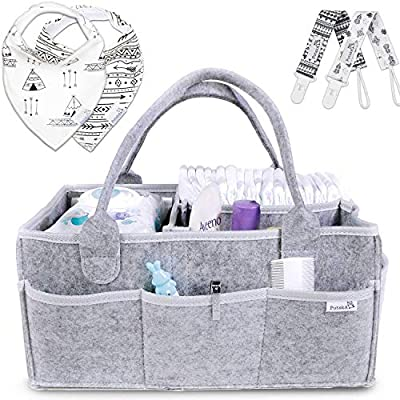 Putska Baby Diaper Caddy Organizer - Gift Registry for Baby Shower, Nursery Organizer, Neutral Baby Gift Basket, Changing Table Organizer with Bibs and Pacifier Clips