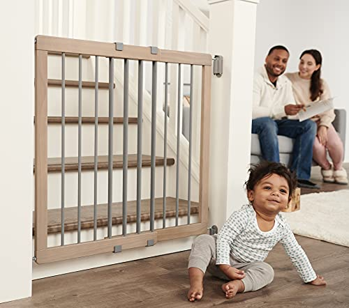 Regalo Heritage and Home Wooden Extra Wide Stairway and Hallway Walk Through Baby Safety Gate with Mounting Kit