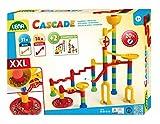Lena- x Cascade Super Twister-Circuito Montar, Juego 45 Elementos y 20 canicas de Cristal, motricidad y Juguete de construcción para niños a Partir de 3 años, Color carbón (SiMM Spielwaren GmbH 65296)