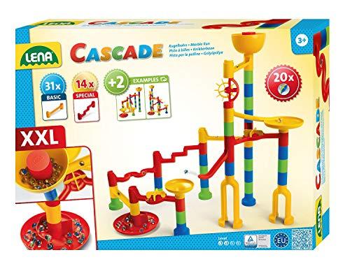 Lena 65296 - Cascade Kugelbahn Super Twister, Murmelbahn zum Zusammenbauen, Rollbahn Baukasten Set mit 45 Bahnelementen und 20 Glasmurmeln, Motorik und Konstruktionsspielzeug für Kinder ab 3 Jahre