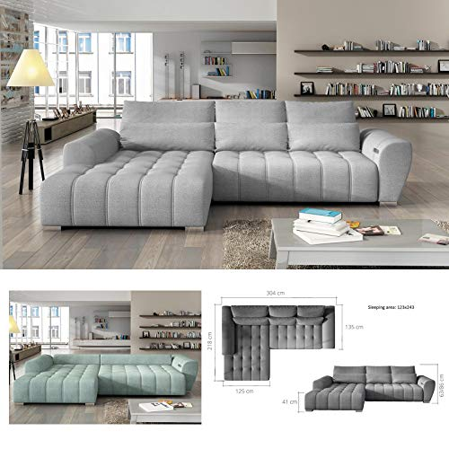 MHF 'BRAVEN' moderno sofá cama esquinero patas cromadas de piel sintética y tela izquierda