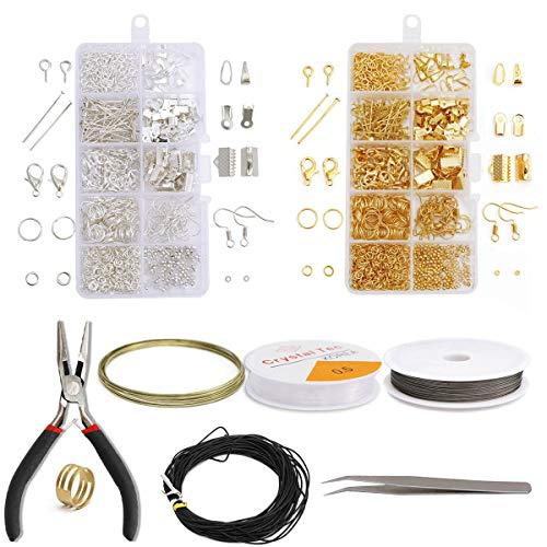 Kit de Fabricacion de Joyas,DBAILY Kit de Fabricación de Joyas Kit de Fabricación de Joyas para Hacer y Reparar Aretes Hacer Accesorios(Oro Plata)