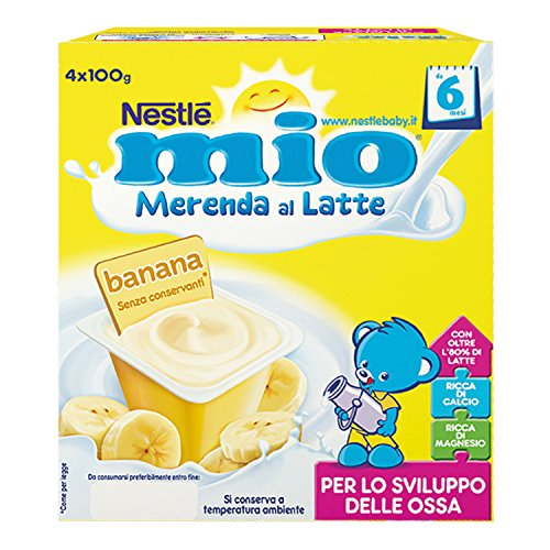 Nestlé Mio Merenda al Latte Banana senza Glutine da 6 Mesi 4 Vasetti Plastica da 100 gr [400 gr]