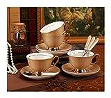 Without Taza de café Espresso Taza de Vidrio Taza Gold Luxury Royal Porcelana Copa de Porcelana y platillo Cerámica Simple Tea Sets Modern Design Tazas de café (Color : 3 Sets)