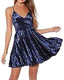 R.Vivimos Women's Crushed Velvet Spaghetti Straps Sexy V Neck Club Party Pleated Swing Skater Dress (Large, Dark Blue)