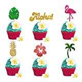 JeVenis Set of 24 Tropical Cupcake Toppers Aloha Cupcake Toppers Flamingo Cupcake Toppers Hawaiian Cupcake Toppers Luau Cupcake Toppers for Aloha Baby Shower Tropical Wedding Party Decor