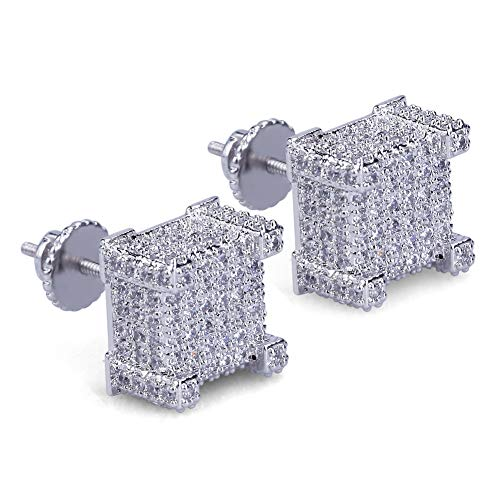 Earring for Mens Iced Out Screw Back Cubist Hypoallergenic Stud Earring For Men and Women Hip Hop Jewelry (silver)