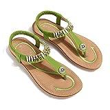 gracosy Damen Sommer Sandalen, Flach Mädchen Sommerschuhe Zehentrenner Clip Toe Hausschuhe Mode Böhmischer Flip Flops Slingback Strand Schuhe-Schwarz Blau MEHRWEG