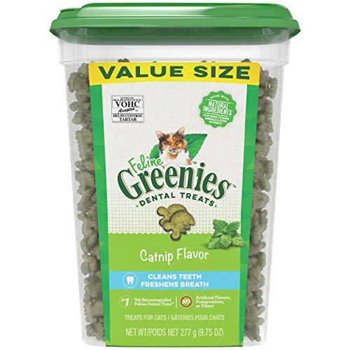 FELINE GREENIES Natural Dental Care Cat Treats, Catnip Flavor, All bag sizes