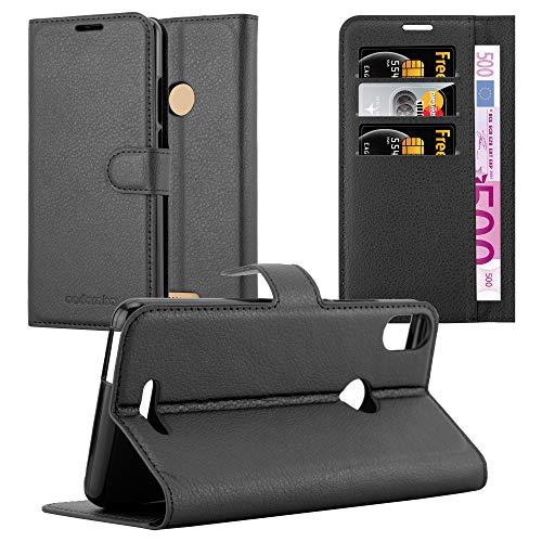 Cadorabo Hülle für WIKO View MAX in Phantom SCHWARZ - Handyhülle mit Magnetverschluss, Standfunktion & Kartenfach - Hülle Cover Schutzhülle Etui Tasche Book Klapp Style