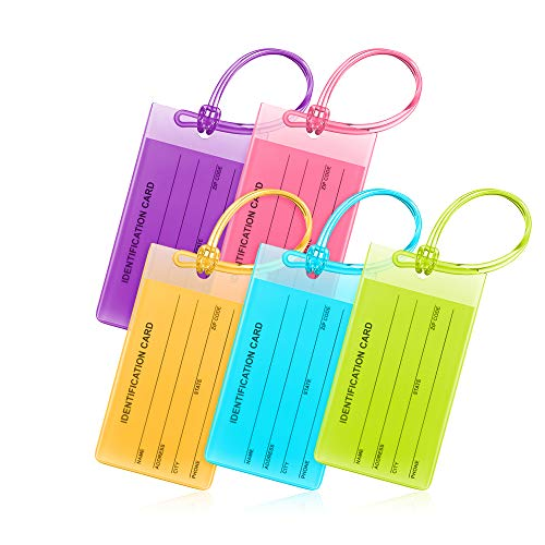 Mifflin Flexible Luggage Tags, Colorful Bag Tags (Multicolor, 4.2x2.2', 5 PK)