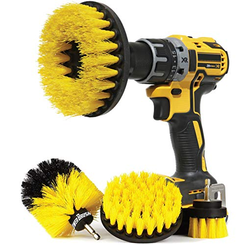 Wheel Brush Kit for Tire and Rim Cleaning | 4 pc Drill Brush Car Detailing Attachment Set | Auto Detail and Scrub Brushes | Car Wash Supplies for Cleaner Cars RVs Tires Rims Wheels and Vehicles