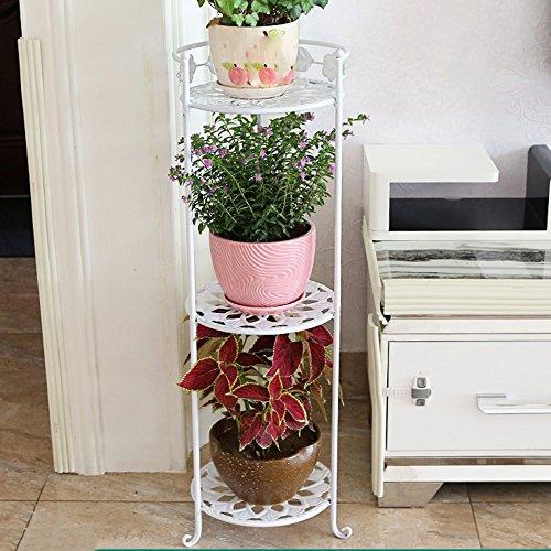 Porte-fleurs multifonctions Étagère à fleurs en fer Étagères à plancher de style à plusieurs étages Étagère à balcons Le salon est simple et coloré (3 couleurs en option) (taille facultative) Applic