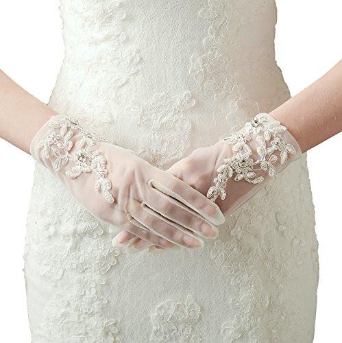 ArtiDeco Damen Lace Handschuhe Satin Braut Hochzeit Spitze Handschuhe Opera Fest Party Handschuhe 1920s Handschuhe Damen Kostüm Accessoires (Kurz Weiß)