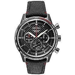 Seiko Men's Stainless Steel Japanese Quartz Leather Calfskin Strap, Black, Casual Watch (Model: SSB359)