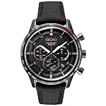 Fashion Shopping Seiko Men's Stainless Steel Japanese Quartz Leather Calfskin Strap, Black,
