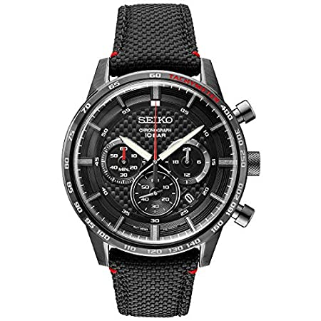 Fashion Shopping Seiko Men's Stainless Steel Japanese Quartz Leather Calfskin Strap, Black, Casual Watch (Model: SSB359)
