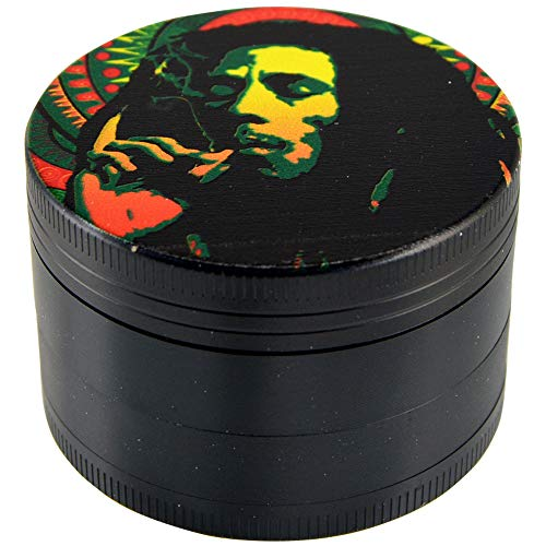 4-Piece Metal Herb & Spice, Tobacco Grinder Kitchen Smoker's Tool - Bob Marley
