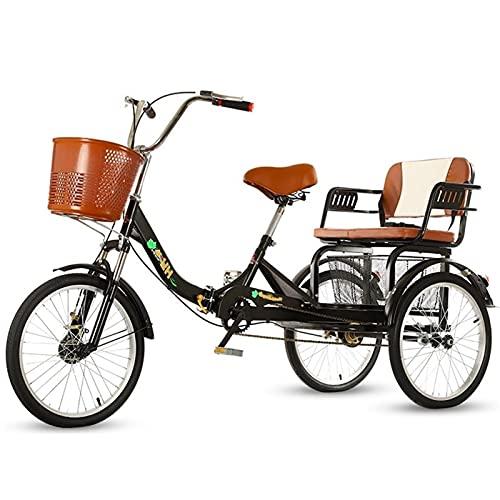 ZCXBHD Erwachsene Dreirad 1 Gang Größe Cruise Bike Erwachsene Trikes 20 Zoll 3 Rad Fahrräder für Senioren mit Einkaufskorb Übung Herren Damen Dreiräder Heimtrainer Frauen Männer Senioren Schwarz