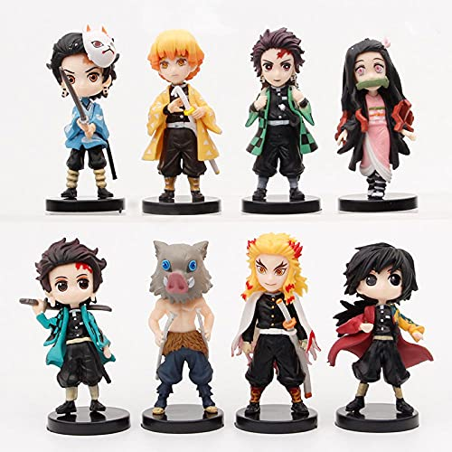 8Pcs Set Demon Slayer Action figure Cake Topper - 2.7inch Demon Slayer Figure Statue Anime Collection Figurine Doll Toys Theme Party Supplies - Children's Birthday Cake Decoration