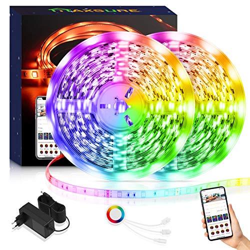 Alexa LED Strip 10M, Maxsure RGB WiFi LED Streifen 10M, IP65 Wasserdicht, APP Steuerbar, Kompatibel mit Alexa und Google Assistant, Lichtband für Wohnung, Partys, Feste, 2.4 WiFi-Netzwerke Unterstützt