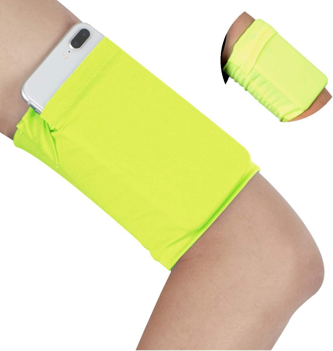 Armband Wristband for Keys Running Walking - Cell Phone Arm Wrist Band Sleeve Strap Wristband Pouch Case for Runs Walks Yoga Biking Fishing Skating Gardening Walk The Dog - Small/Fluorescent Yellow