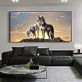 hetingyue Lobo HD Cartel Lienzo Arte Blanco y Negro Lobo Lienzo Pared Lienzo Pintura sin Marco Pintura 45x78cm