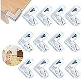 12Piezas Protectores de esquina para Niños Protección para Bordes Transparente Cubre Esquinas para Mesas y Muebles con Adhesivo Fuerte (Forma de L)