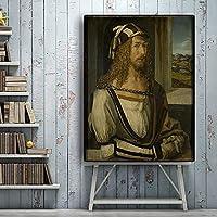CHBOEN キャンバス絵画家の装飾 ヴィントガアルブレヒトデューラーの肖像画キャンバスに油絵ポスターとプリントリビングルームのスカンジナビア北欧アートの壁の写真 60x90cm(23.6x35.5インチ)