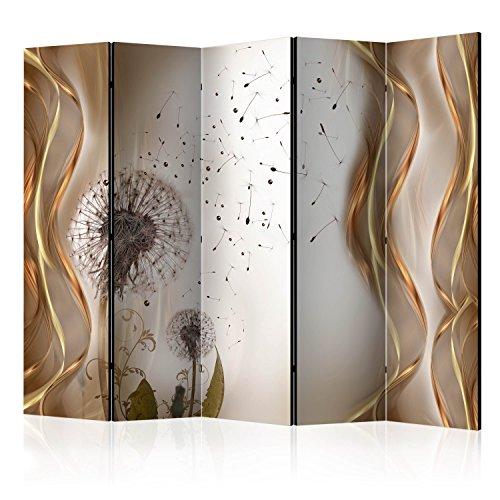 murando Raumteiler Pusteblume Abstrakt Foto Paravent 225x172 cm beidseitig auf Vlies-Leinwand Bedruckt Trennwand Spanische Wand Sichtschutz Raumtrenner Home Office beige grau Gold b-A-0007-z-c