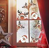 Kair - Adhesivos para ventanas de Navidad, diseño de reno y Papá Noel, decoración de Navidad, extraíble, PVC, adhesivo estático para Navidad, recepción, tienda, vitrina de cristal