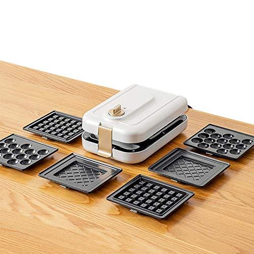 GOHHK Mini Waffeleisen mit abnehmbaren Antihaftbeschichteten Tellern für Paninis Frühstück oder Snacks zum Frühstück, Mittagessen oder Snacks