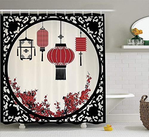QAQ Starry Sky Douchegordijn, lantaarns, met Japanse Sakura Cherry Blossom Trees en ronde ronde gravure badkamer