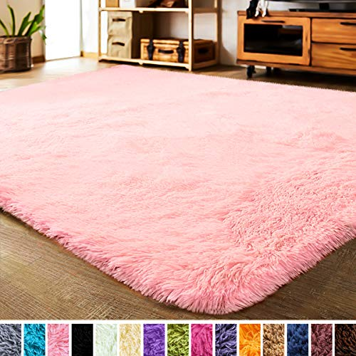 LOCHAS Luxury Velvet Shag Area Rug Modern Indoor Fluffy Rugs, Extra Soft and Comfy Carpet, Cute Color Furry Bedroom Carpets for Kids, Nursery, Girls, Baby, Living Room (3x5 Feet, Pink)