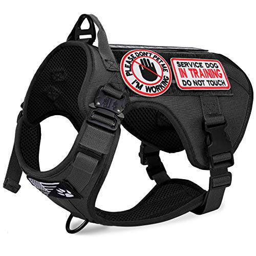 voopet Tactical Dog Harness, Lightweighting Adjustable No-Pull Vest with Hook & Loop Panels for ID Patch, K9 Pet Working Training Molle Vest with Easy Control Handle (with 6Pcs Removeable Tags)