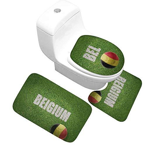 Jiaa Nationalmannschaft Fußball Thema Badematte Sets 3 Stück Teppich Für Bad Wc Waschbar,Bel,S