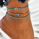 Bohond Boho Tortuga Playa Tobillera Azul Multicapa Tobillo Pulsera circunferencia Tobilleras Cristal Ajustable Cuerda Cadena de pie Joyería Para Mujeres Y Chicas