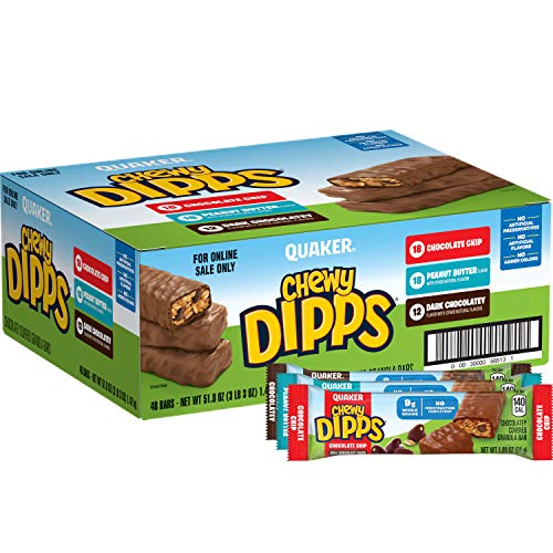 48 Bars Quaker Chewy Dipps Chocolatey Covered Granola Bars, Variety Pack -$9.25(51% Off)