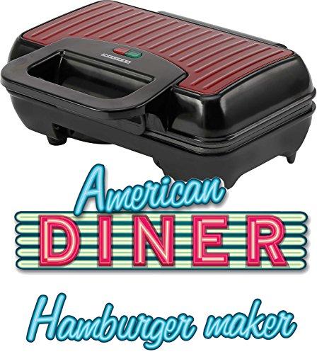 Melissa 16250060, Burger Maker elektrisch 800 Watt, Hamburger Grill für 2 Patties oder 2 Frikadellen gleichzeitig, plastic