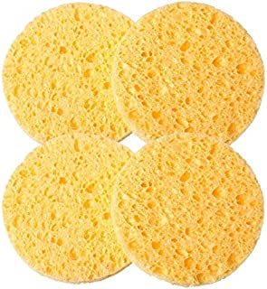 Deep Facial Round Cleansing Natural Wood Fiber Sponge Face Wash (Yellow - 4 Pieces)