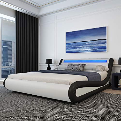 Amolife Upholstered King Size Bed Frame with Adjustable LED Lights Headboard/Deluxe Solid Modern Platform Bed with Slat Support/Low Profile Curved Faux Leather Bed Frame,Black and White